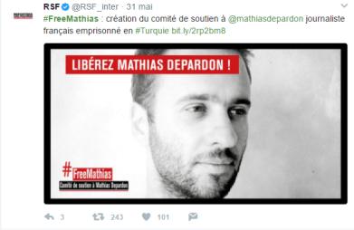 L'ONG Reporter sans Frontière lance un comité de soutien (Capture d'écran compte Twitter @RSF_inter)